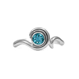 Entwine solitaire engagement ring in sterling silver - blue topaz