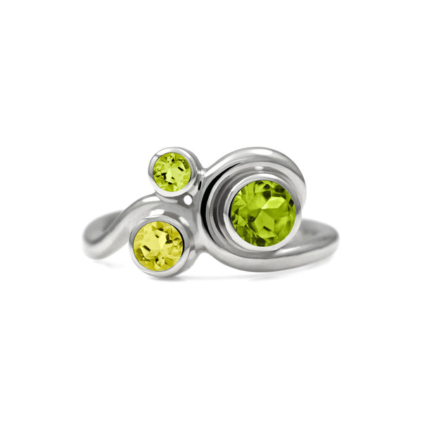 Entwine trilogy engagement ring in sterling silver and gemstone - peridot and lemon quartz