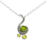 Entwine three stone gemstone pendant in sterling silver - peridot and lemon quartz
