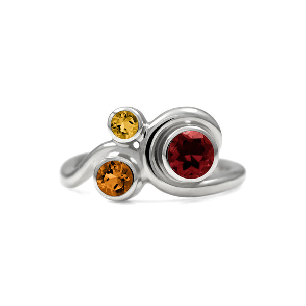 Entwine trilogy engagement ring in sterling silver and gemstone - garnet and citrine