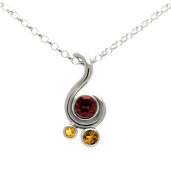 Entwine three stone gemstone pendant in sterling silver - garnet and citrine