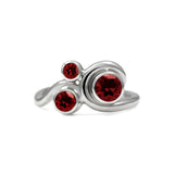 Entwine trilogy engagement ring in sterling silver and gemstone - red garnet