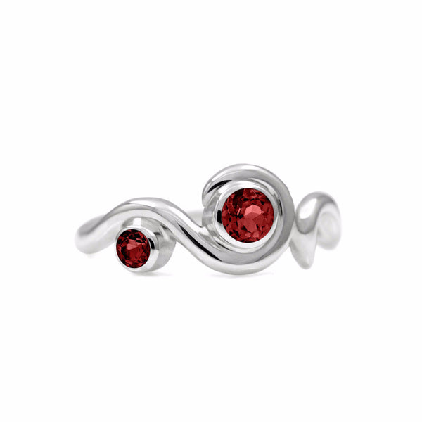 Entwine two stone gemstone engagement ring  - sterling silver and garnet