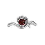 Entwine solitaire engagement ring in sterling silver - silver and garnet