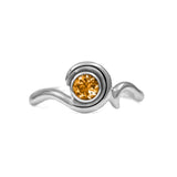 Entwine solitaire engagement ring in sterling silver - silver and citrine