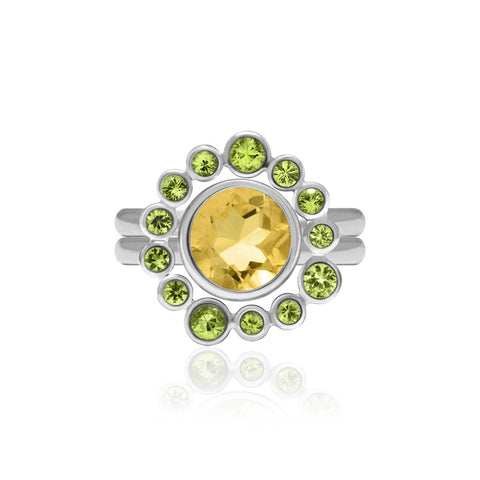 Sterling silver and peridot halo ring with interlocking citrine solo ring