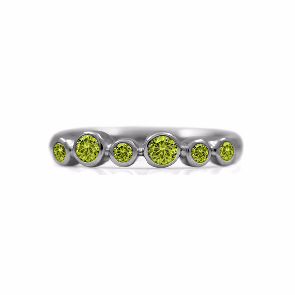 Halo half eternity ring - sterling silver and peridot