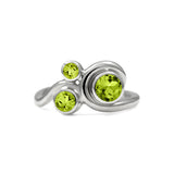 Entwine trilogy engagement ring in sterling silver and gemstone - peridot