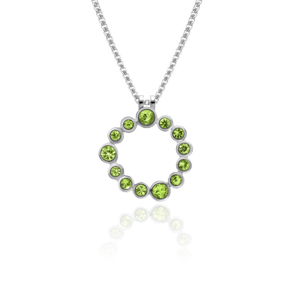 Halo pendant in sterling silver and gemstone - peridot