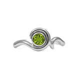 Entwine solitaire engagement ring in sterling silver - peridot