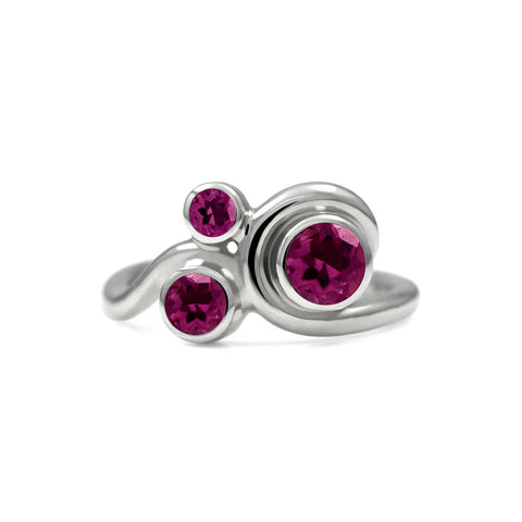 Entwine trilogy engagement ring in sterling silver and gemstone - rhodolite garnet