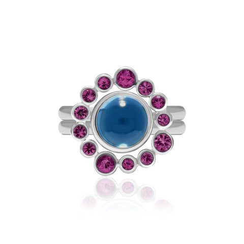 Sterling silver and rhodolite garnet halo ring with interlocking blue topaz solo ring