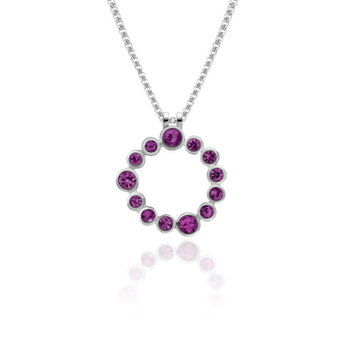 Halo pendant in sterling silver and gemstone - rhodolite garnet