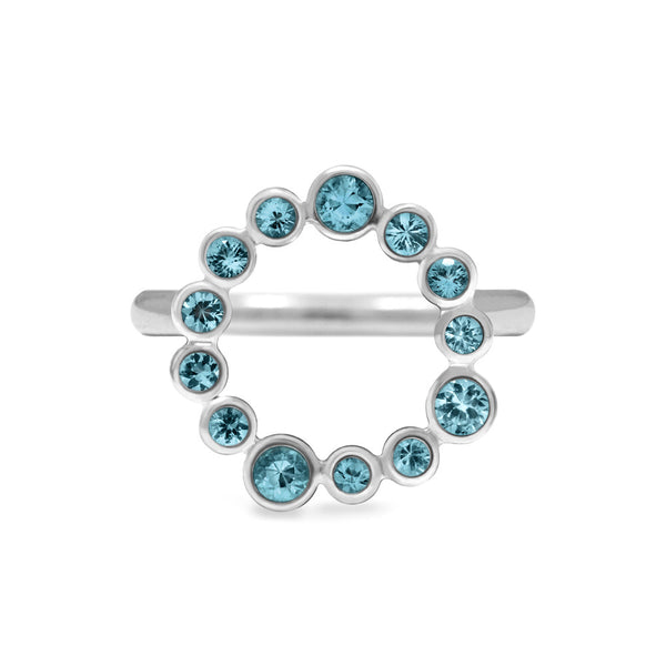 Sterling silver halo ring - blue topaz