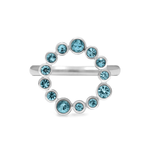 Halo ring in sterling silver and gemstone