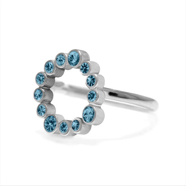 Sterling silver halo ring - blue topaz - side