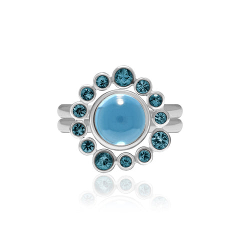 Sterling silver and blue topaz halo and solo interlocking rings