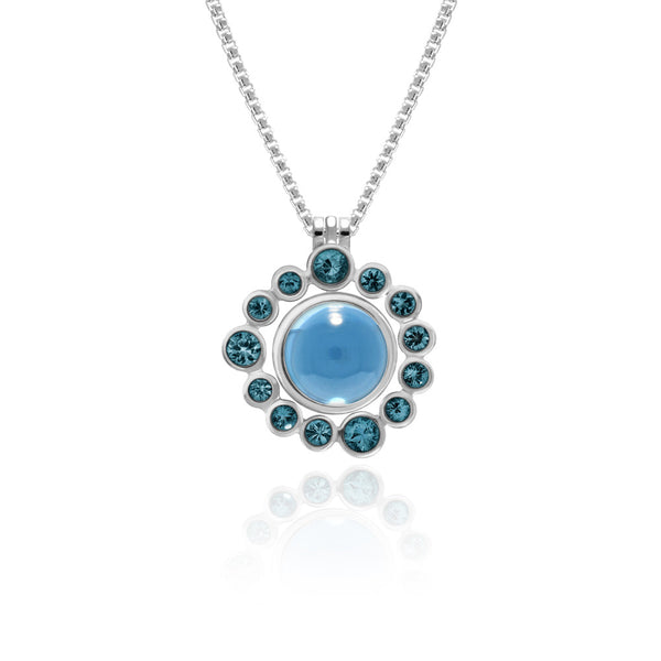 Halo pendant in sterling silver and gemstone - blue topaz - with interlocking solo pendant