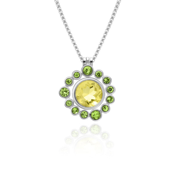 Halo pendant in sterling silver and gemstone - tsavorite garnet - with interlocking solo pendant in citrine