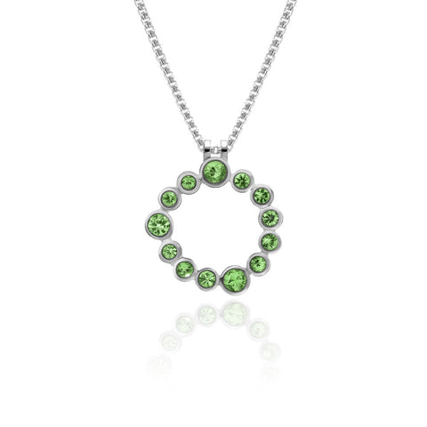 Halo pendant in sterling silver and gemstone - tsavorite garnet