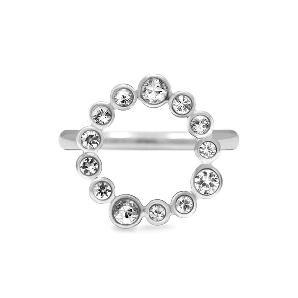 Sterling silver and white topaz halo ring