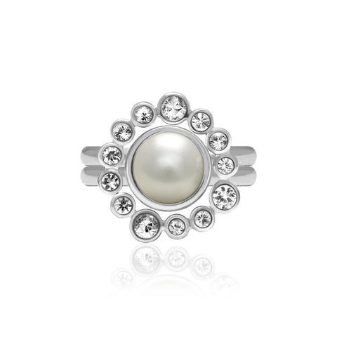 Sterling silver and white topaz halo ring with an interlocking pearl solo ring