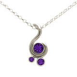Entwine three stone gemstone pendant in 9ct gold - white gold and amethyst