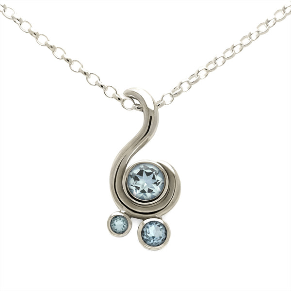 Entwine three stone gemstone pendant in 9ct gold - white gold and aquamarine