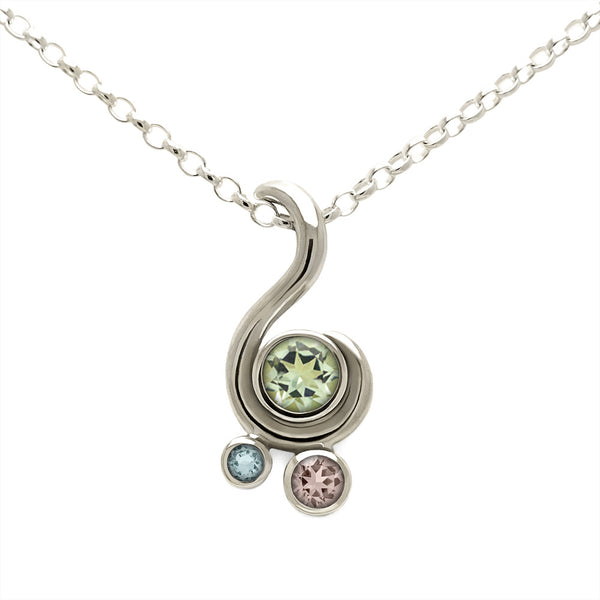 Entwine three stone gemstone pendant in 9ct gold - white gold, green beryl, morganite and aquamarine