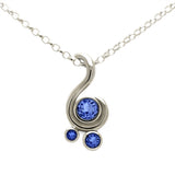 Entwine three stone gemstone pendant in 9ct gold - white gold and blue sapphire
