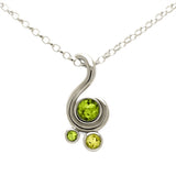 Entwine three stone gemstone pendant in 9ct gold - white gold, peridot and lemon quartz
