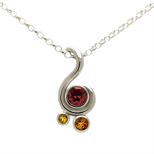 Entwine three stone gemstone pendant in 9ct gold - white gold, garnet and citrine