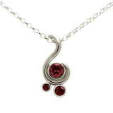 Entwine three stone gemstone pendant in 9ct gold - white gold and red garnet