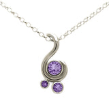 Entwine three stone gemstone pendant in 9ct gold - white gold and purple sapphire