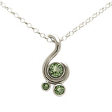 Entwine three stone gemstone pendant in 9ct gold - white gold and green sapphire