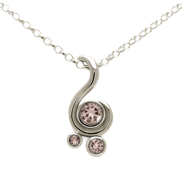 Entwine three stone gemstone pendant in 9ct gold - white gold and morganite