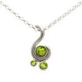 Entwine three stone gemstone pendant in 9ct gold - white gold and peridot