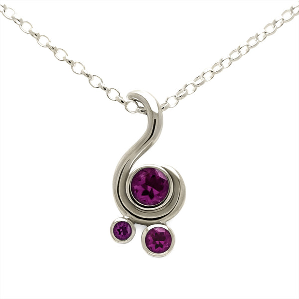 Entwine three stone gemstone pendant in 9ct gold - white gold and rhodolite garnet