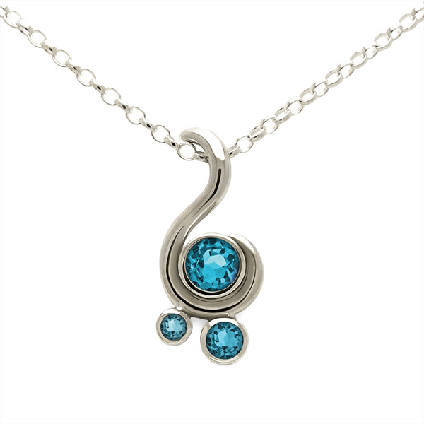 Entwine three stone gemstone pendant in 9ct gold - white gold and blue topaz