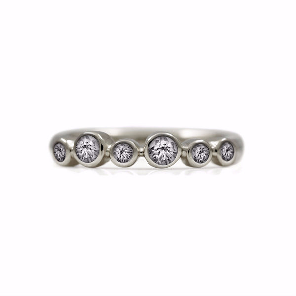 Halo eternity diamond ring - 9ct white gold and diamond