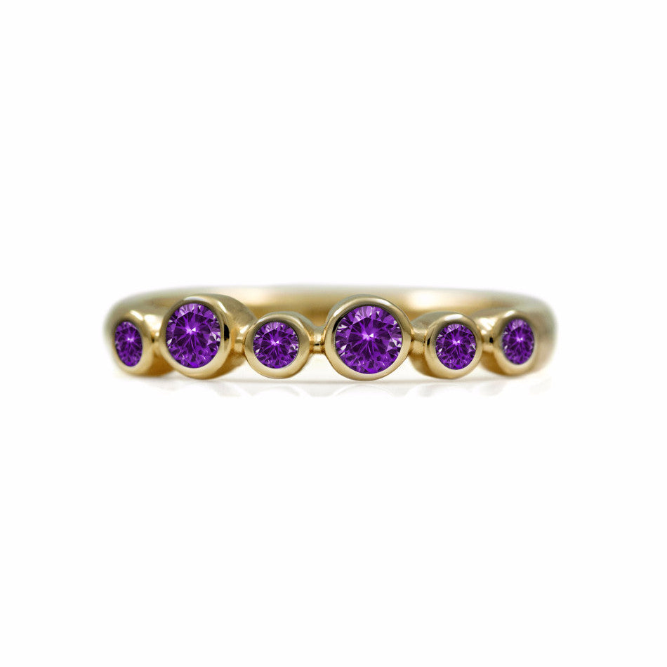 Halo half eternity ring - 9ct yellow gold and amethyst