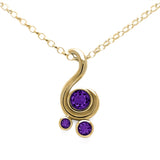 Entwine three stone gemstone pendant in 9ct gold - yellow gold and amethyst