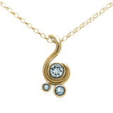 Entwine three stone gemstone pendant in 9ct gold - yellow gold and aquamarine