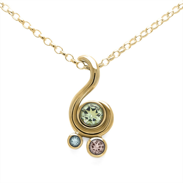 Entwine three stone gemstone pendant in 9ct gold - yellow gold, green beryl, morganite and aquamarine