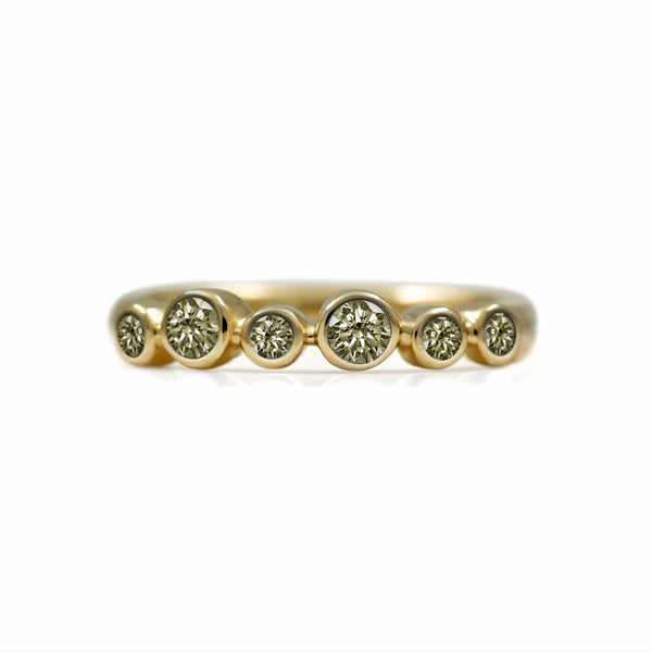 Halo eternity diamond ring - 9ct yellow gold and champagne diamond