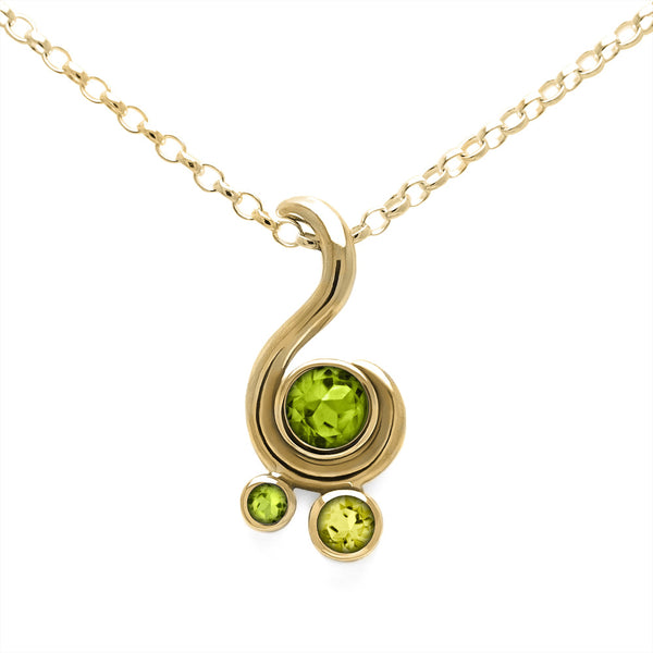 Entwine three stone gemstone pendant in 9ct gold - yellow gold, peridot and lemon quartz