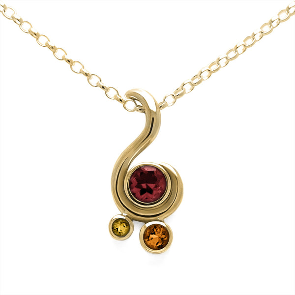 Entwine three stone gemstone pendant in 9ct gold - yellow gold, garnet and citrine