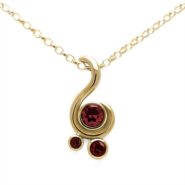 Entwine three stone gemstone pendant in 9ct gold - yellow gold and red garnet