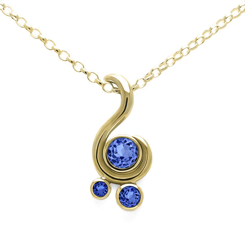 Entwine three stone gemstone pendant in 9ct gold - yellow gold and blue sapphire