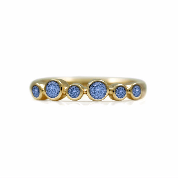 Halo half eternity ring - 9ct yellow gold and blue sapphire